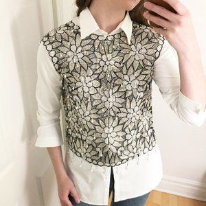 Stunning Vintage Art Deco Hand Beaded Floral Top